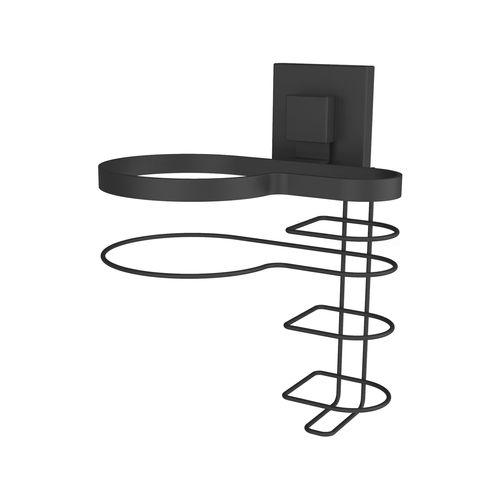Fusion-Loc  Matte Black Suction Hair Dryer And Straightener Holder