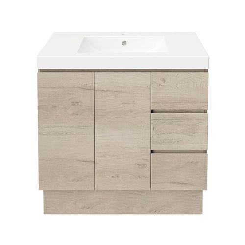 Forme 900mm Mont Albert Freestanding Vanity With Polymarble Top - RH Drawers - Light Ash