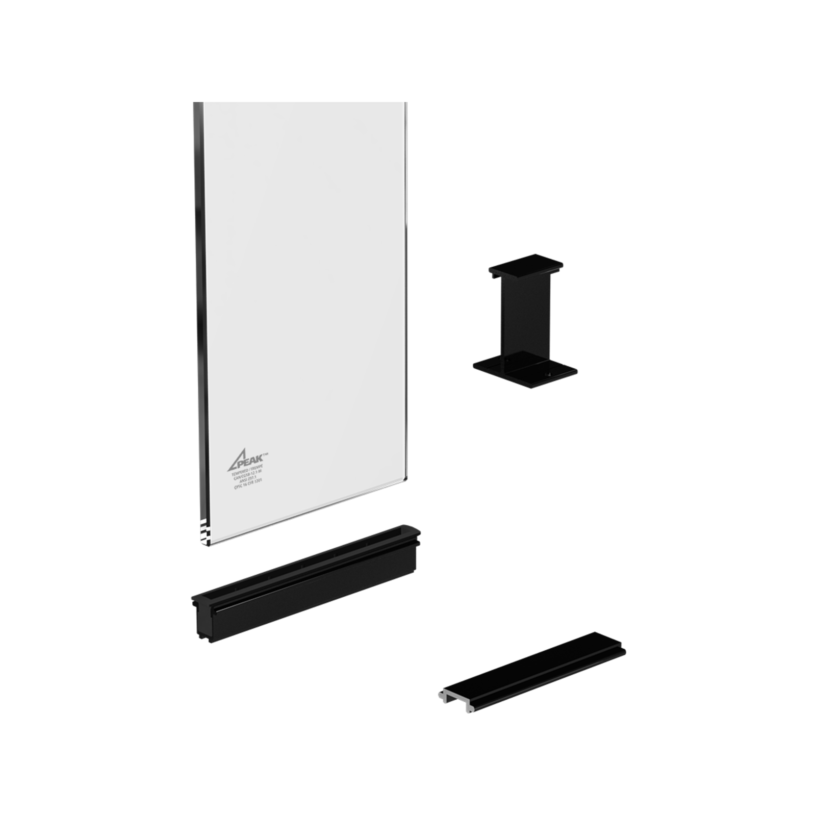 Peak Products 1800mm Black Aluminium Balustrade Sectional Glass Kit With Clear Glass Panels