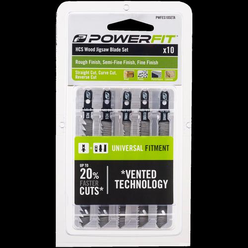 Powerfit 10 Piece HCS Wood Jigsaw Blade Set