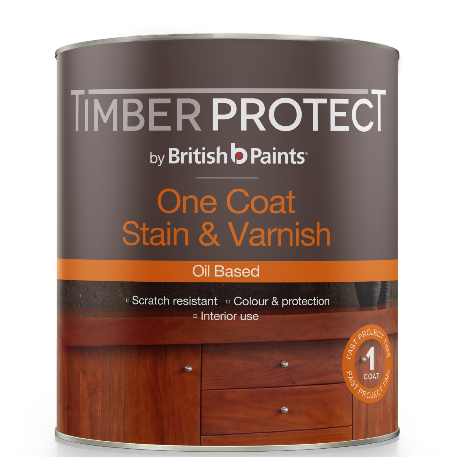 Timber Protect 250ml Oil Based Light Walnut One Coat Stain And Varnish