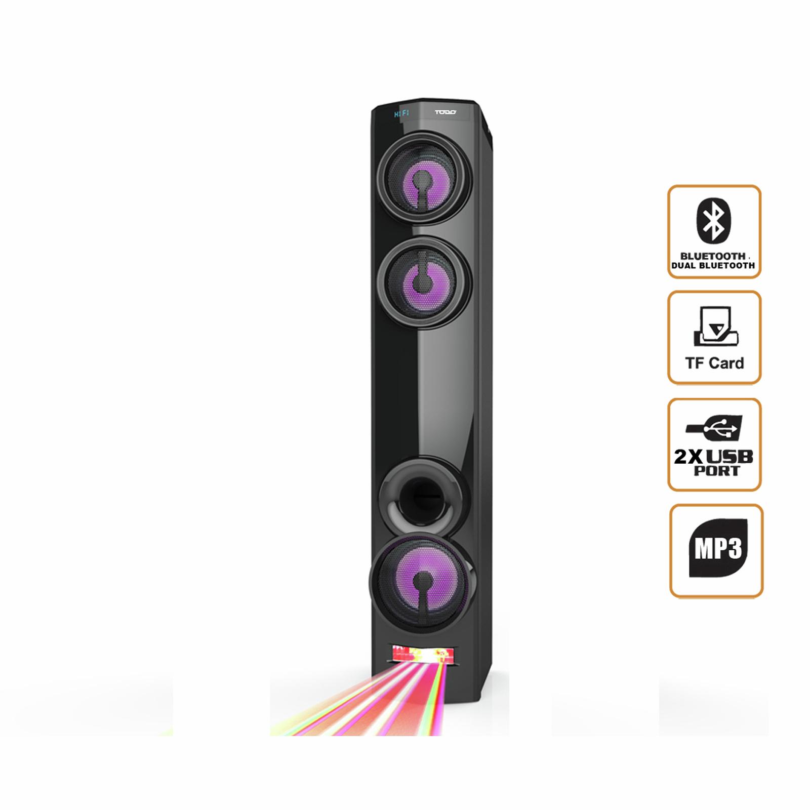 TODO Bluetooth Tower Speaker w/ Dual Bluetooth USB DJ Light Mode