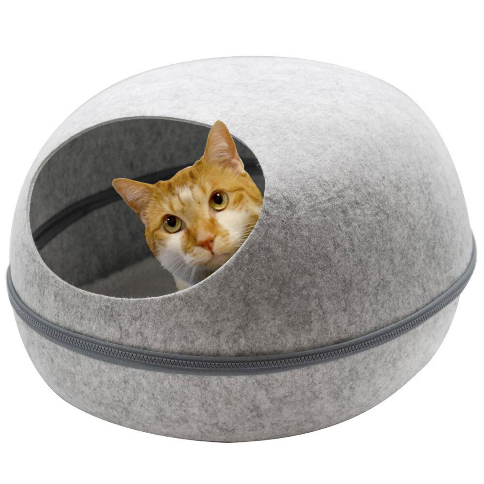 Paws & Claws 48x38cm Pets/Kitten/Cat Cave Bed w/ Washable Cushion Large Grey