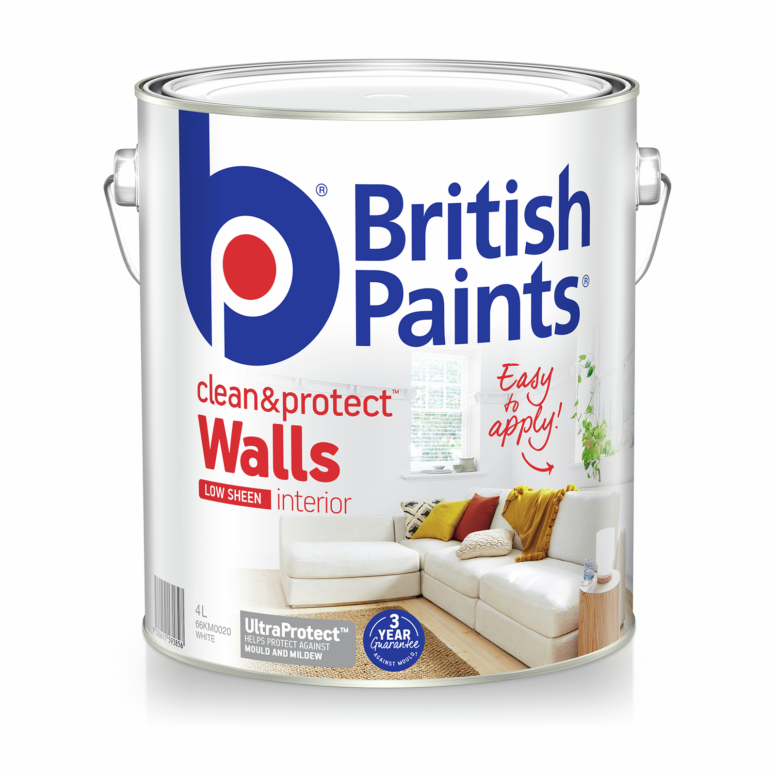 British Paints Clean And Protect Low Sheen White Interior Paint - 4L