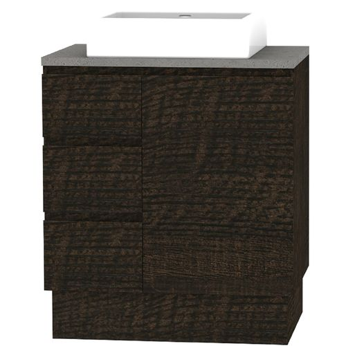 Forme 750mm Mont Albert Freestanding Vanity With Cement Stone Top And Comet Basin - LH Drawers - Dark Chocolate