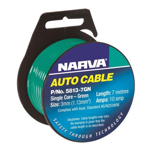 Narva Cable Single Core 10A 3mm x 7m Green