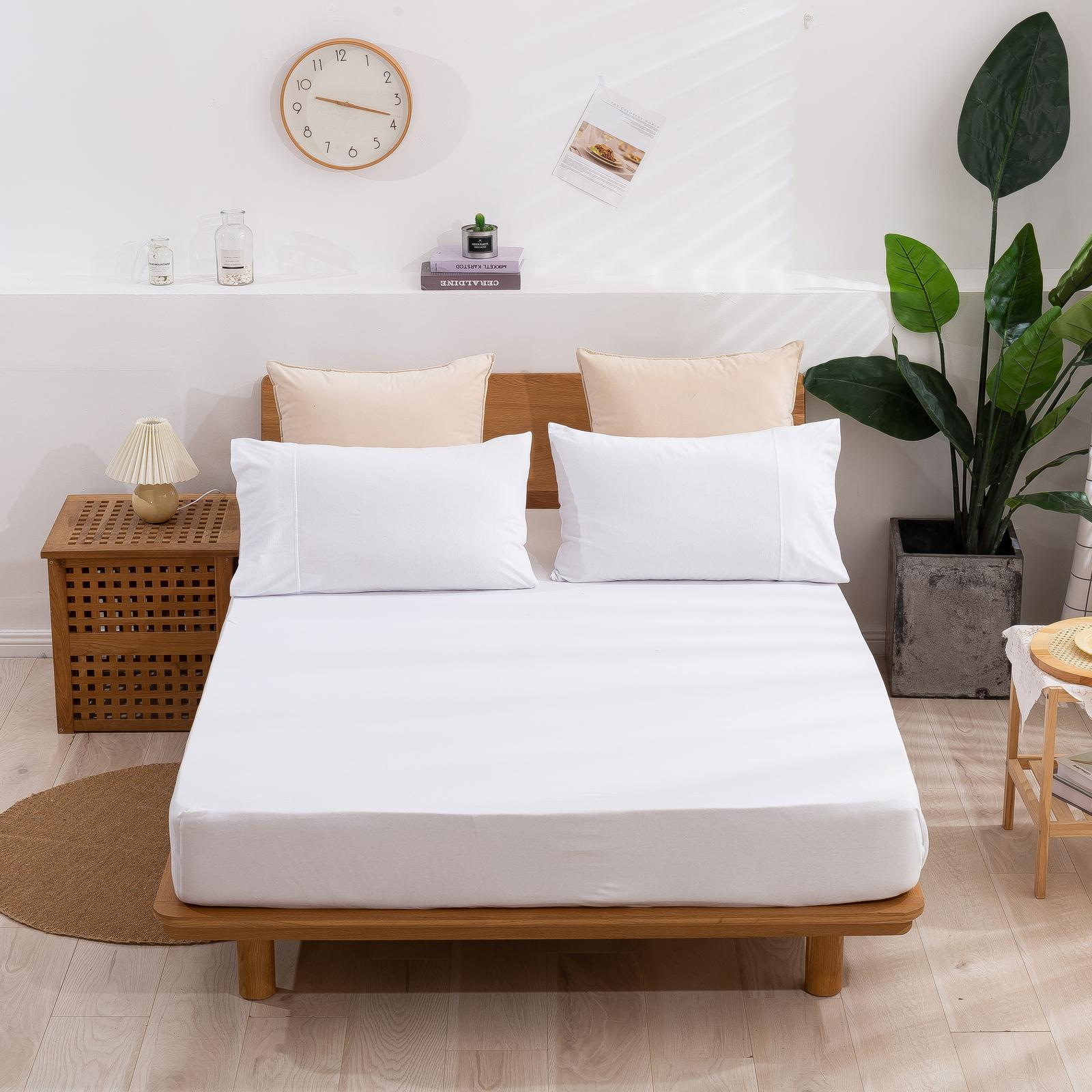 Dreamaker Cotton Jersey fitted sheet White