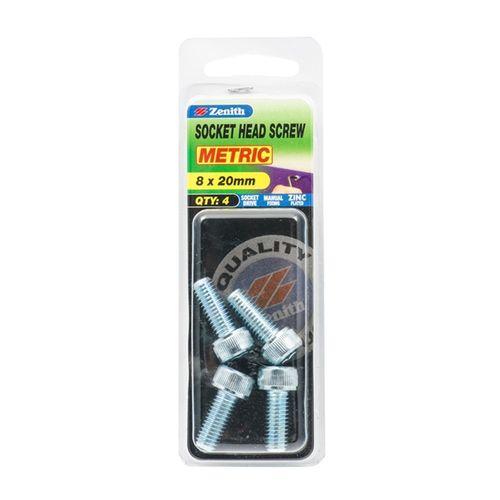 Zenith M8 x 20mm Zinc Plated Socket Head Screw - 4 Pack