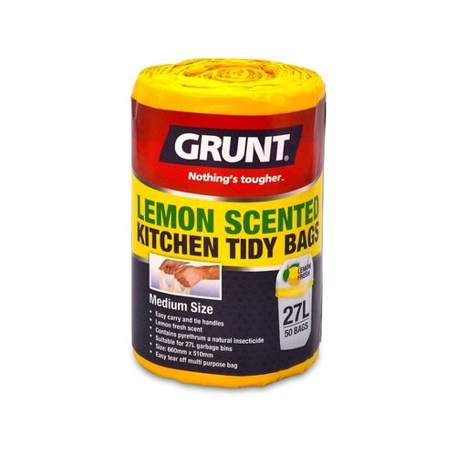 Grunt 27L Lemon Scented Kitchen Tidy Bags - 50 Pack