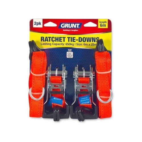 GRUNT 25mm x 6m Ratchet Tie Down Strap - 2 Pack