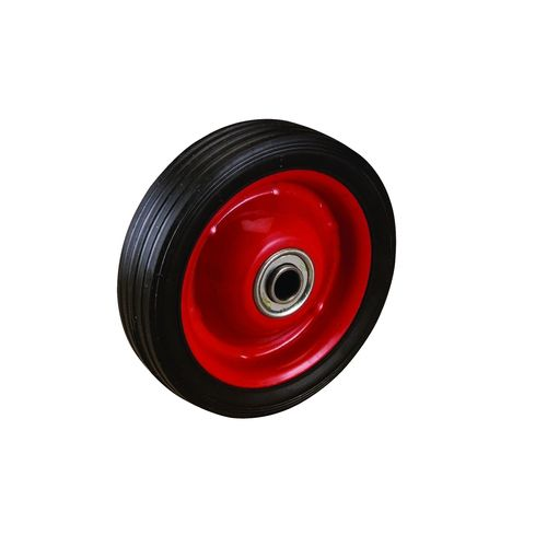 Easyroll 125mm Black Rubber Tyre with Red Metal Centre