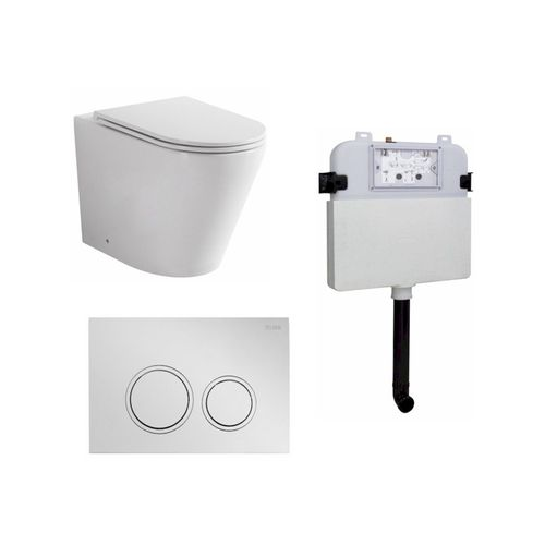 Zumi Java Concealed Cistern With ABS Plastic Round Chrome Flush Plate And Pan