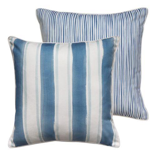 Fraser Stripe Reversible Cushion - Blue
