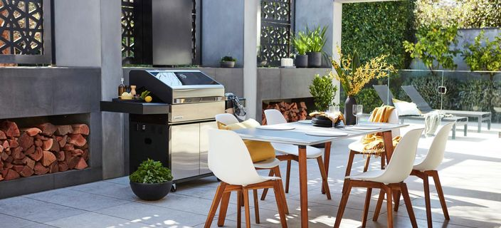 Small BBQ with vegetable skewers on grill surrounded by pot plants