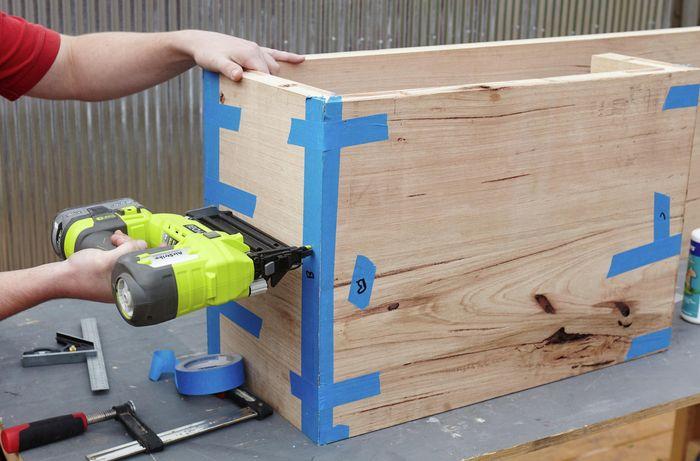DIY Step Image - How to build a D.I.Y. floating hardwood vanity . Blob storage upload.