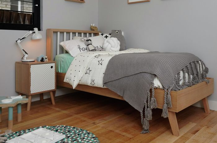 Completed D.I.Y. timber bed in a child's bedroom