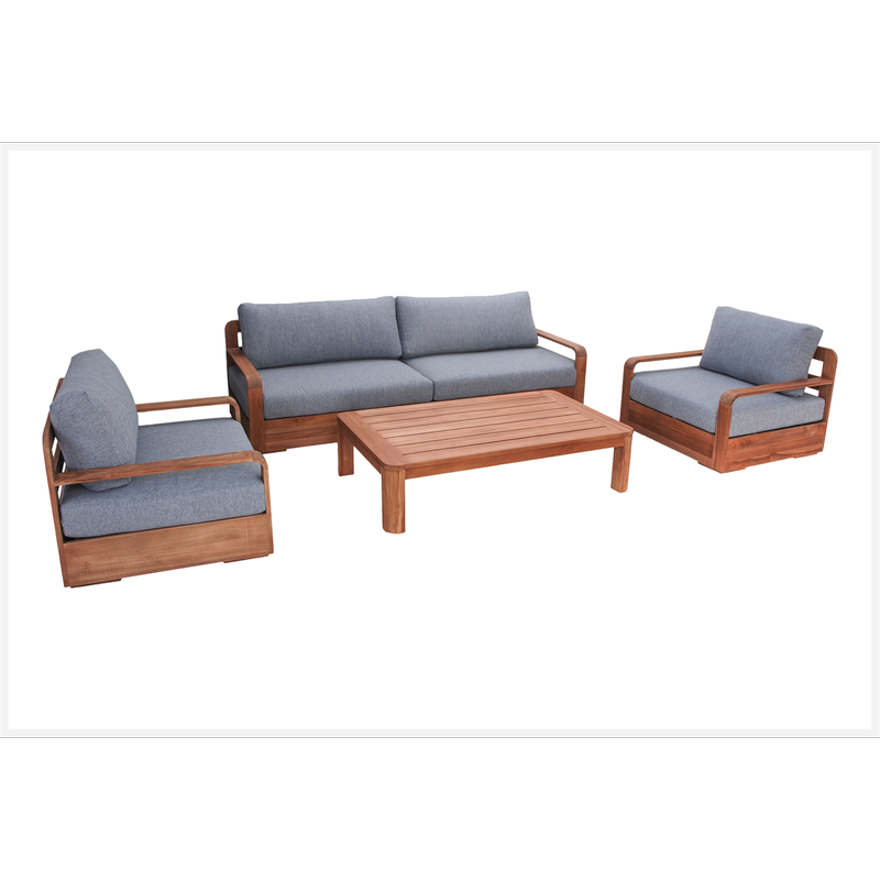 Mandala 4 Piece Teak Timber Corner Lounge Setting