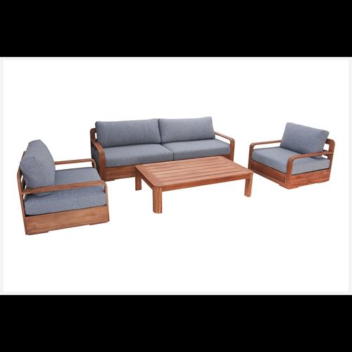 Mimosa Mandala Teak Timber Setting Corner Lounge - 4 Piece