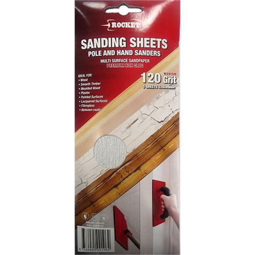 Rocket 120Grit Medium Grade Hand And Pole Sanding Sheets - 5 Pack