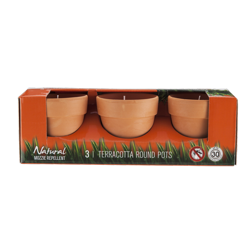 Waxworks Round Terracotta Citronella Candles - 3 Pack