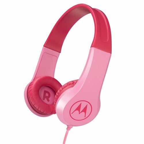 Motorola Kids Wired Over-Ear Headphones w/ In-line Mic/3.5mm Audio Splitter Pink
