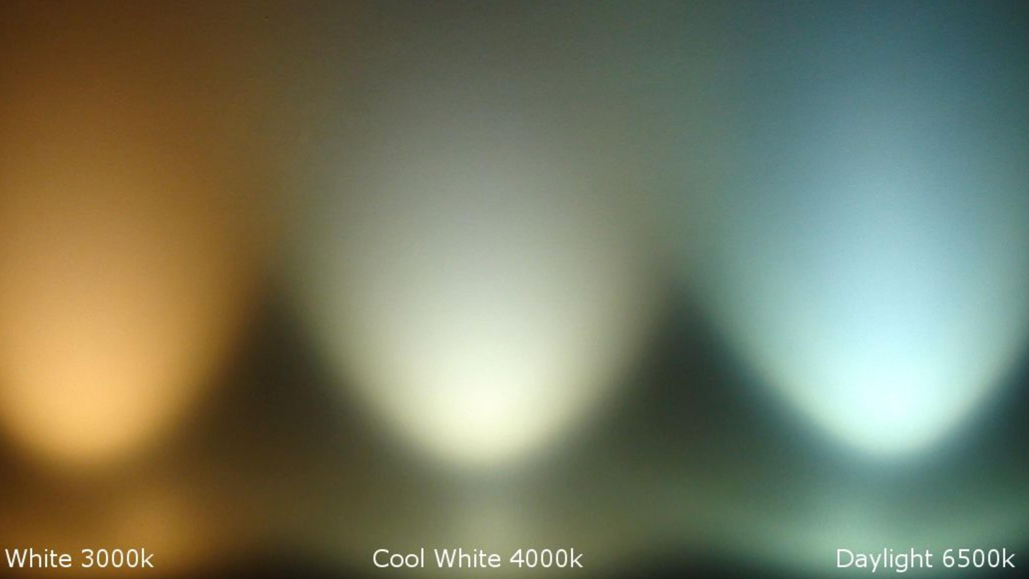 A range of warm, cool and daylight bulb light ranges in an abstract image.