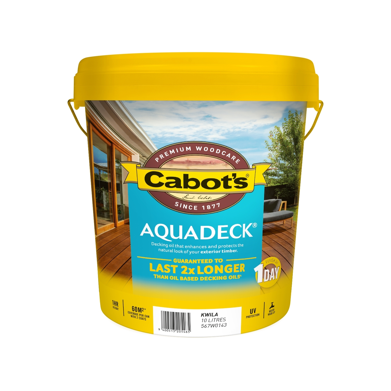 Cabot's 10L Waterbased Kwila Aquadeck Decking Oil