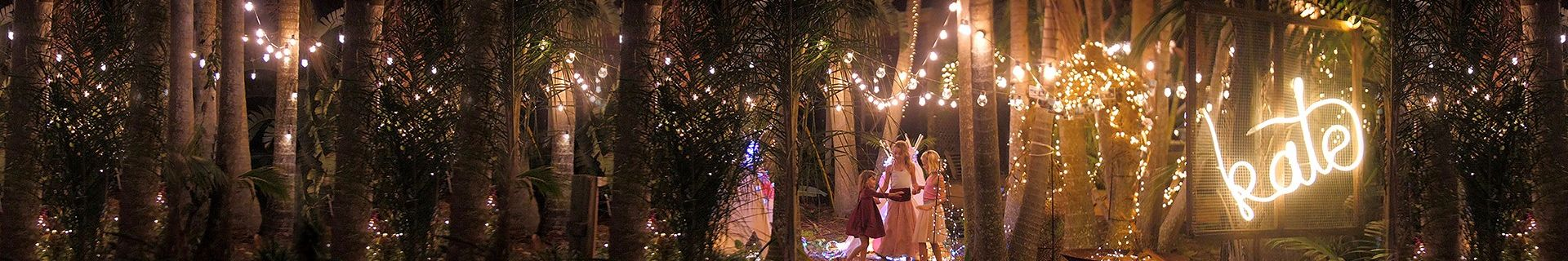Warm white fairy lights in outdoor area.