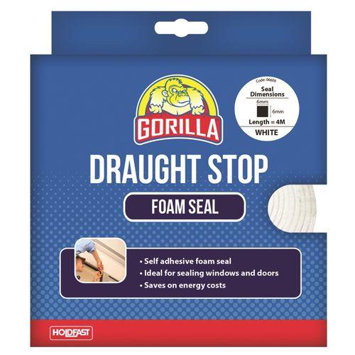 Gorilla 6mm x 6mm x 4m White Draughts Stop Foam