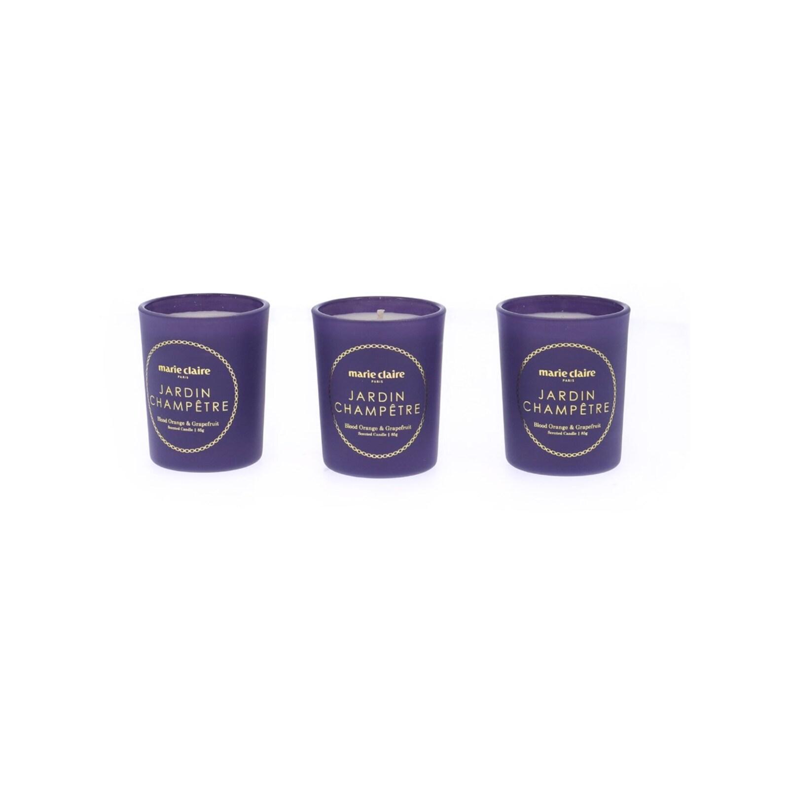 Marie Claire Jardin Champetre Fleur Votive Candle Set of 3 Blue