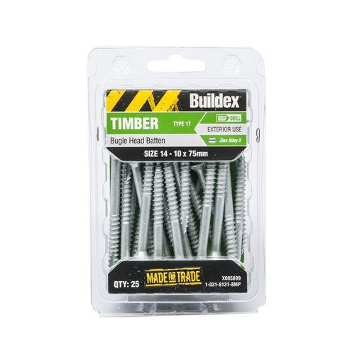 Buildex 14-10 x 75mm Zinc Alloy Bugle Head Batten Timber Screws - 25 Pack