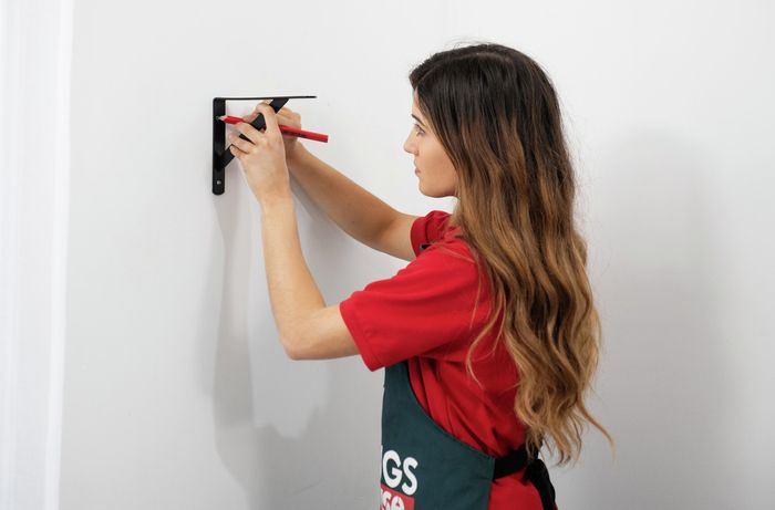 DIY Step Image - How to hang a shelf on the wall. Blob storage upload.