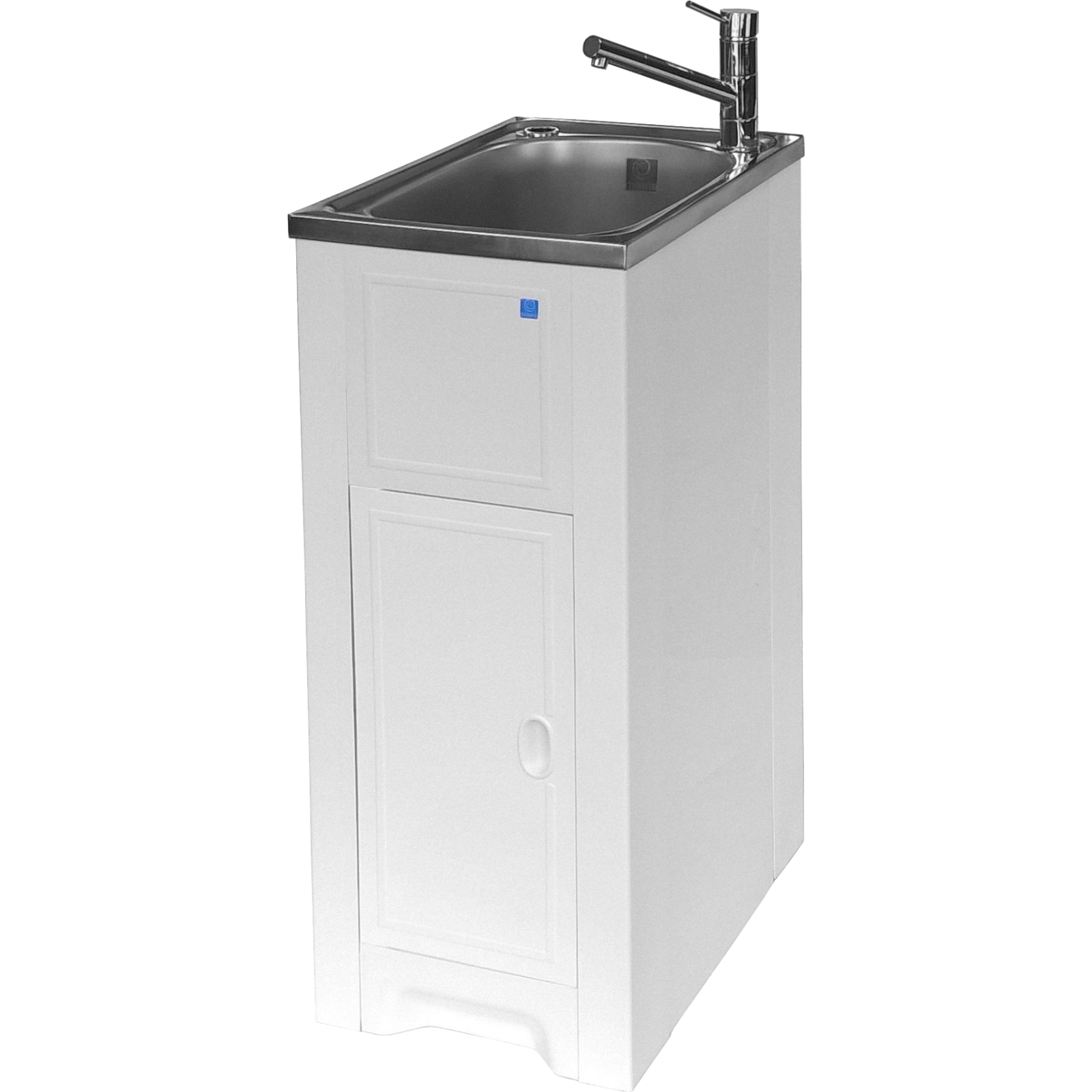 Milena 35L Stainless Steel Skinny Mini Laundry Trough And Poly Cabinet LH Door