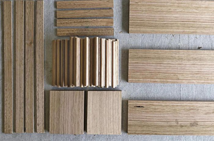Timber in various sizes and shapes sitting on benchtop.