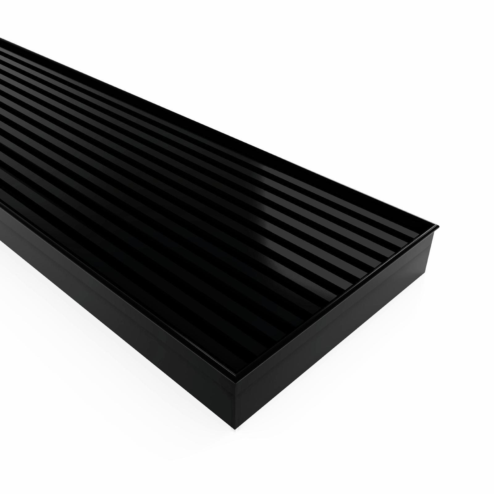 Forme  900 × 100 mm Black Satin Stainless Steel Mesh Floor Waste