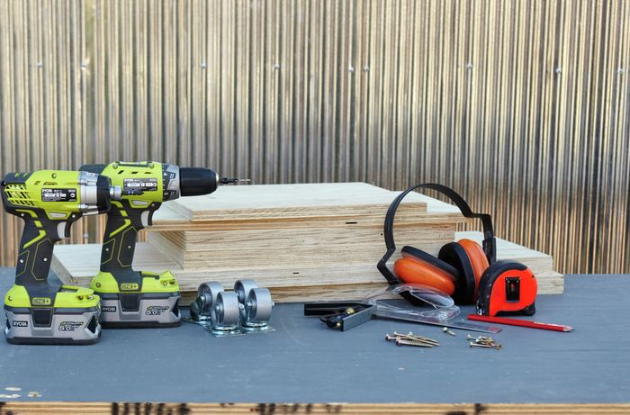 An assortment of tools and materials required to complete this project