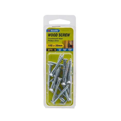 Zenith 10G x 38mm Zinc Plated Wood Screw - 18 Pack