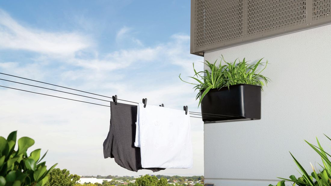 Clothes hanging on a pull-out clothesline