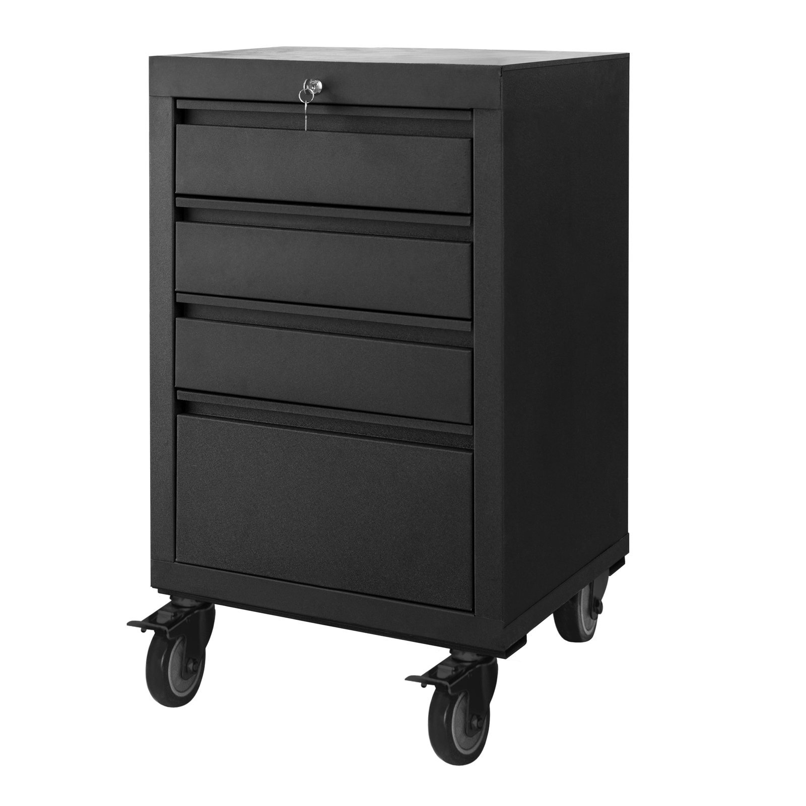 Pinnacle 810 x 520 x 500mm Matte Black 4 Drawer Mobile Storage Unit