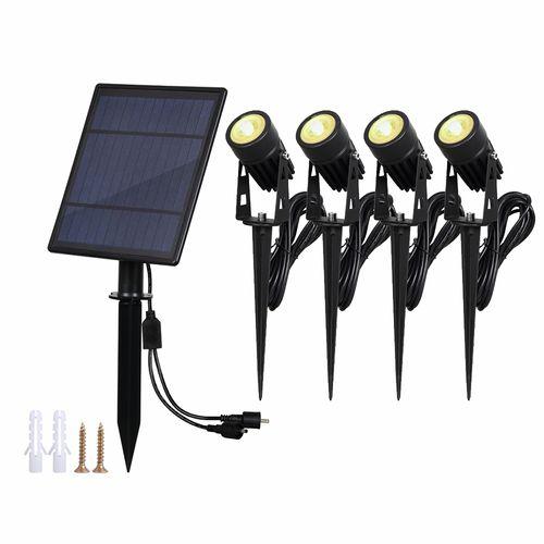 Gardenglo 400lm Solar Powered 4 x LED Spotlights