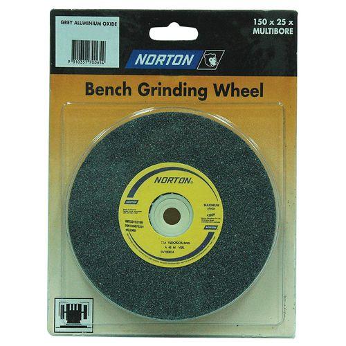 Norton 200 x 25mm Multi-Bore Fine Bench Grinding Wheel