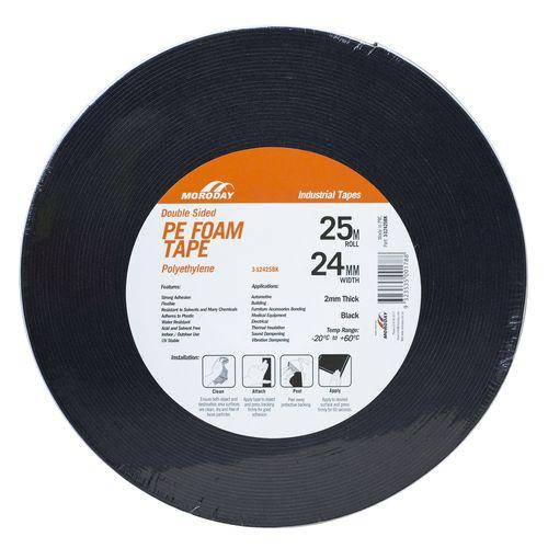 Moroday 24mm x 25m Black Double Sided PE Foam Tape