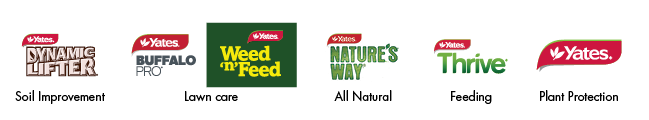 Dynamic lifter soil improvement, Buffalo pro and weed n feed lawn care, nature's way all natural, thrive feeding, yates plant protection.
