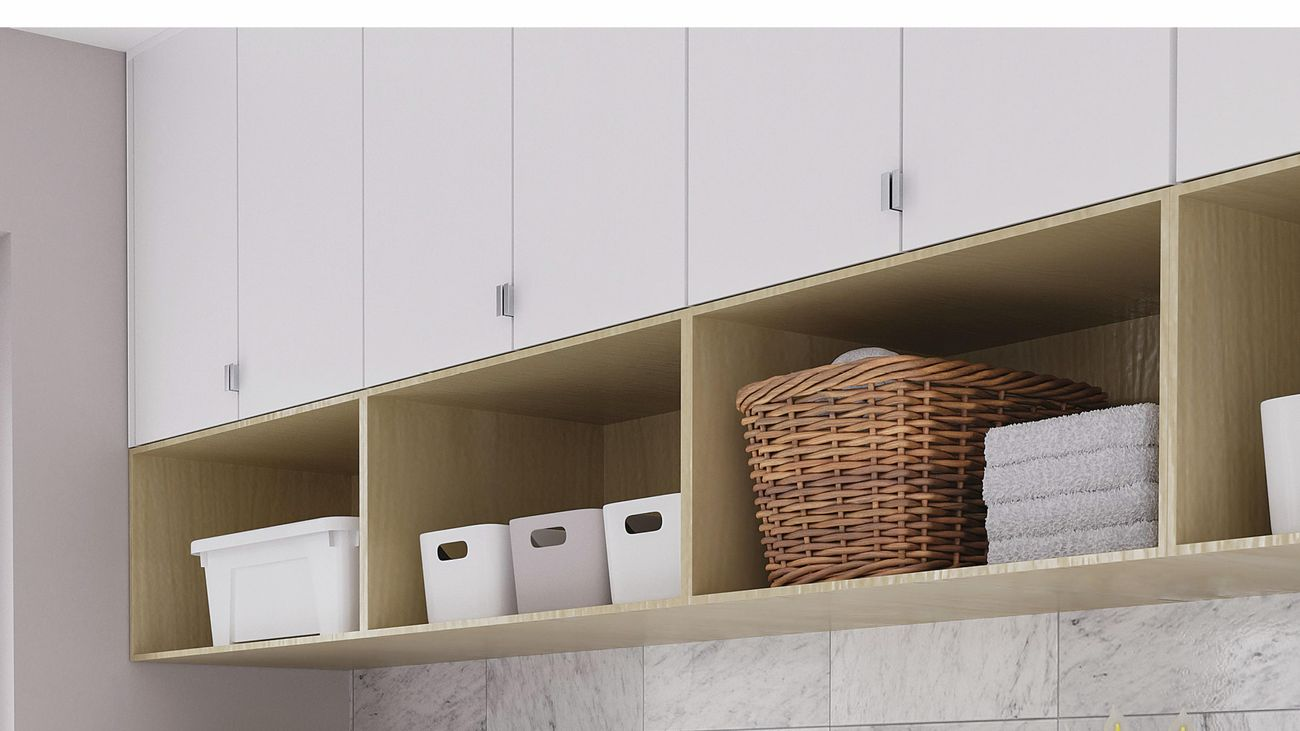 scandi laundry display with cabinetry, shelving, splashback and appliances