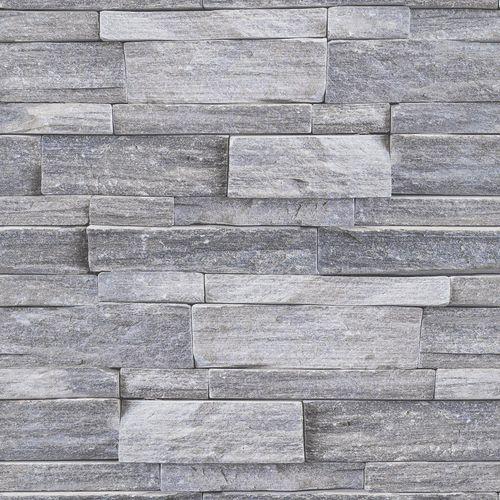 Superfresco Easy 52cm x 10m Grey Stone Wall Wallpaper