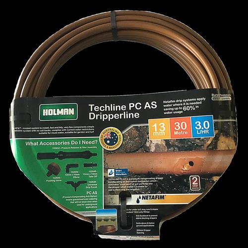 Holman 13mm Techline PC Irrigation Drip Tube - 30m