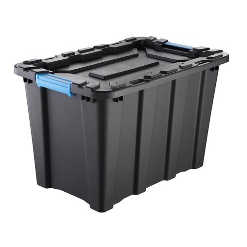 Inabox 55L Heavy Duty Black And Blue Storage Container