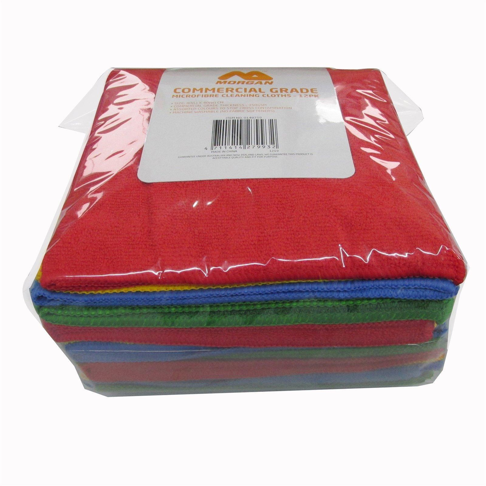 Morgan Commercial Grade 350gsm Microfibre Cleaning Cloth - 12 Pack