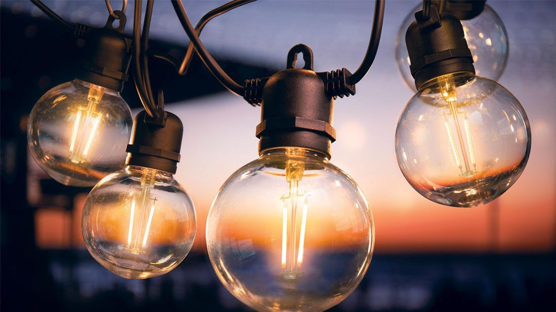 Close up of several Globe light bulbs in the evening light.