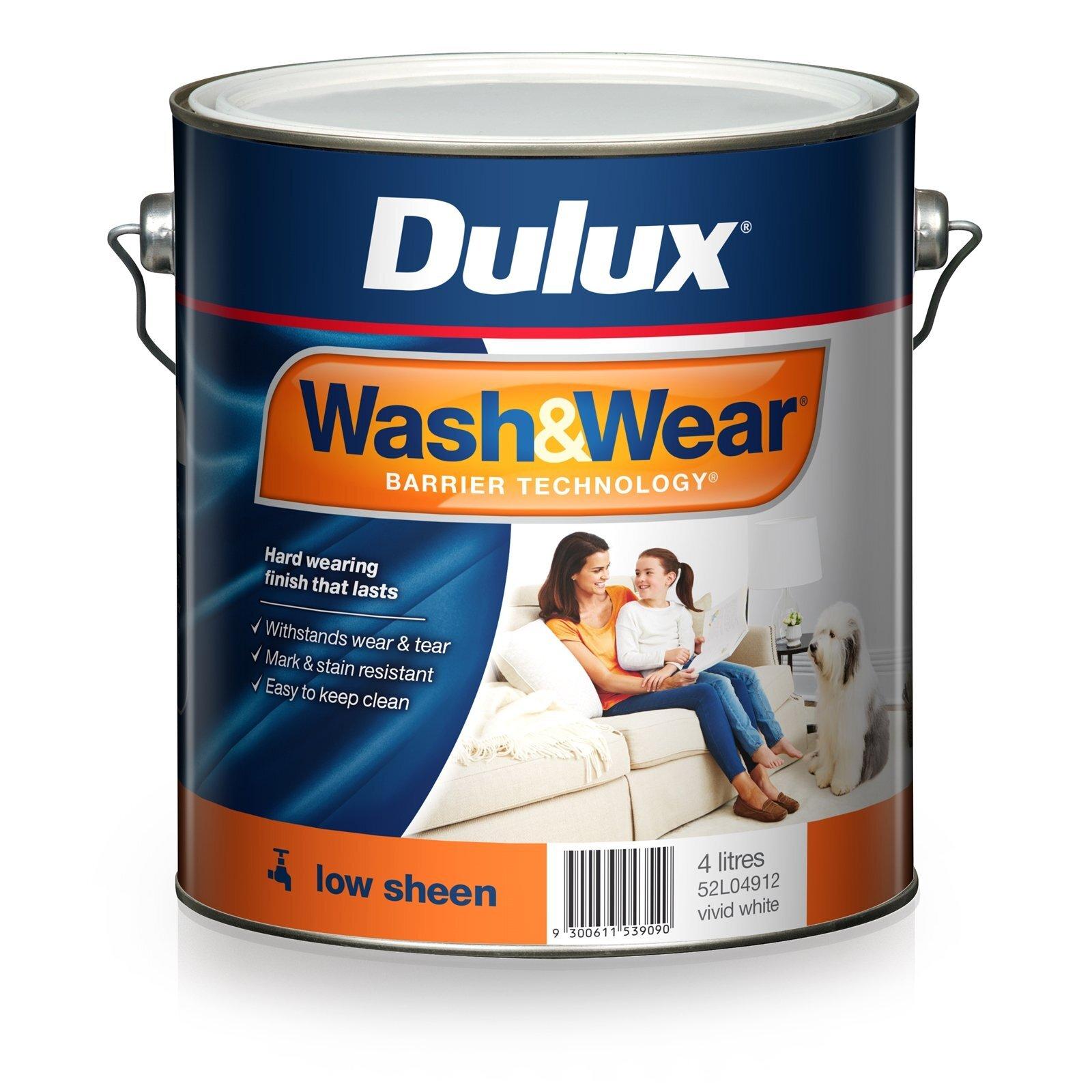 Dulux 4L Vivid White Wash & Wear Low Sheen Interior Paint
